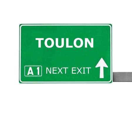 toulon: TOULON road sign isolated on white