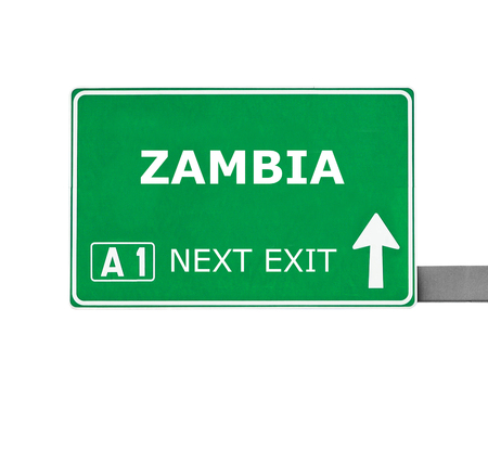zambia: ZAMBIA road sign isolated on white