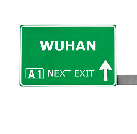 wuhan: WUHAN road sign isolated on white