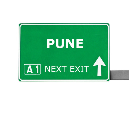 pune: PUNE road sign isolated on white