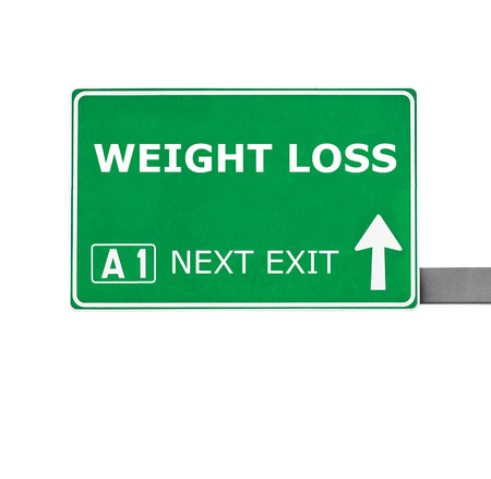 way of living: WEIGHT LOSS road sign isolated on white Stock Photo