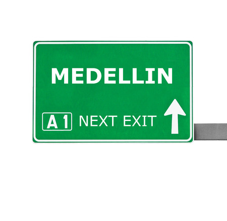 medellin: MEDELLIN road sign isolated on white Stock Photo