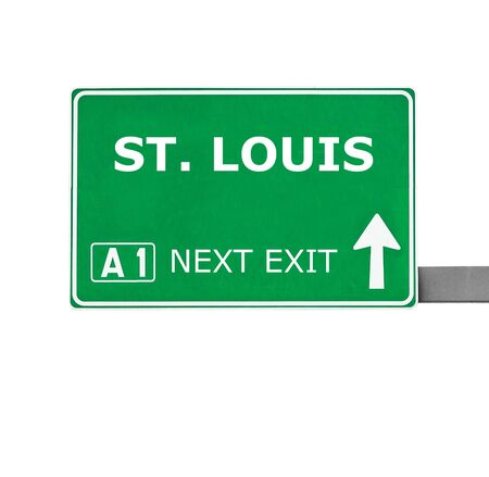 st louis: ST. LOUIS road sign isolated on white Stock Photo