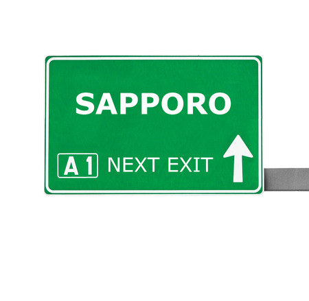 sapporo: SAPPORO road sign isolated on white