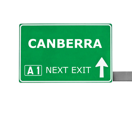 Canberra: CANBERRA road sign isolated on white
