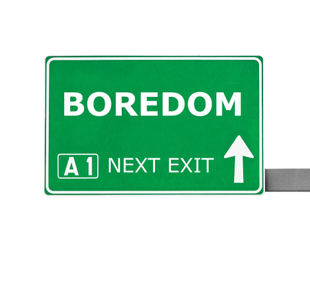 dullness: BOREDOM road sign isolated on white Stock Photo