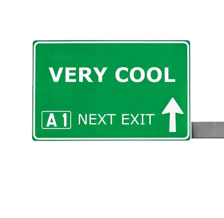 very: VERY COOL road sign isolated on white