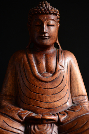 head wise: Buddha portrait against dark background