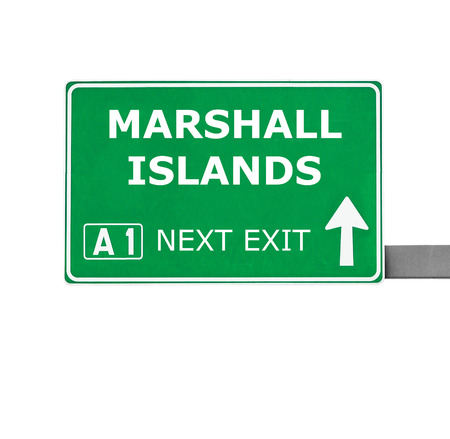 marshall: MARSHALL ISLANDS road sign isolated on white Stock Photo