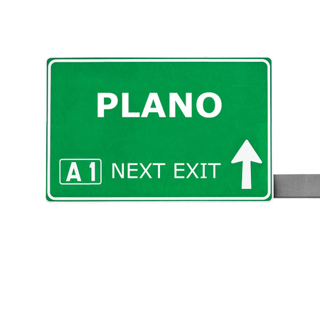 plano: PLANO road sign isolated on white