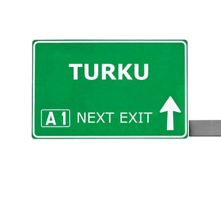 turku: TURKU road sign isolated on white