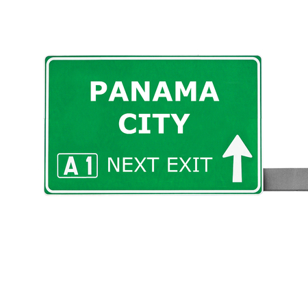 panama city: PANAMA CITY road sign isolated on white Stock Photo