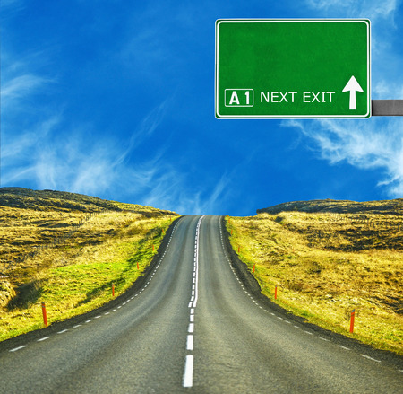 blank board: Blank road sign against clear blue sky Stock Photo