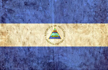 grungy: Grungy paper flag of Nicaragua