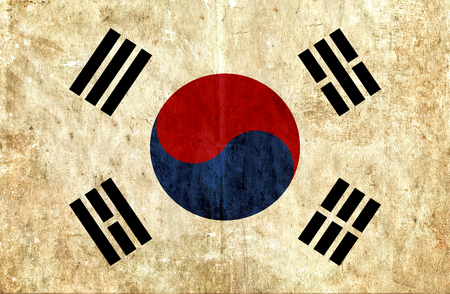 smudged: Grungy paper flag of South Korea Stock Photo
