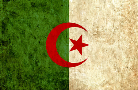 run down: Grungy paper flag of Algeria Stock Photo