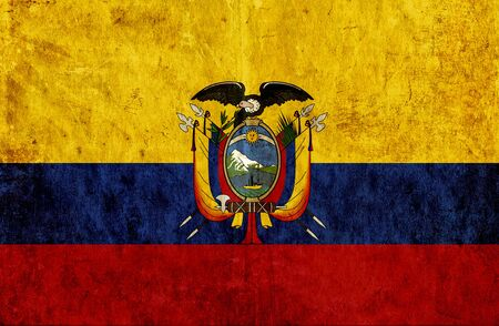 run down: Grungy paper flag of Ecuador