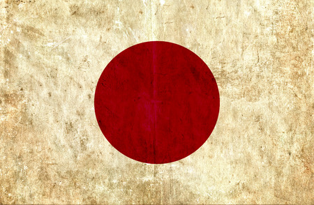 run down: Grungy paper flag of Japan