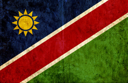 run down: Grungy paper flag of Namibia Stock Photo