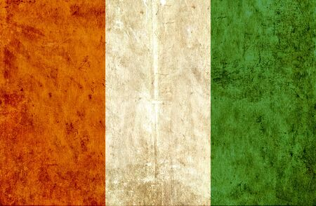 run down: Grungy paper flag of Ivory Coast