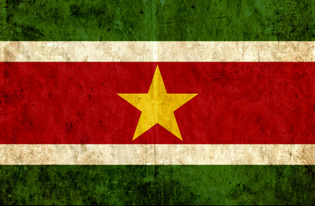 suriname: Grungy paper flag of Suriname Stock Photo