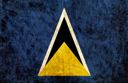 run down: Grungy paper flag of St Lucia