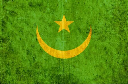 run down: Grungy paper flag of Mauritania