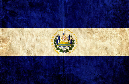 run down: Grungy paper flag of El Salvador