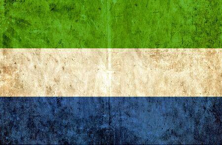 sierra: Grungy paper flag of Sierra Leone