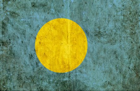 run down: Grungy paper flag of Palau