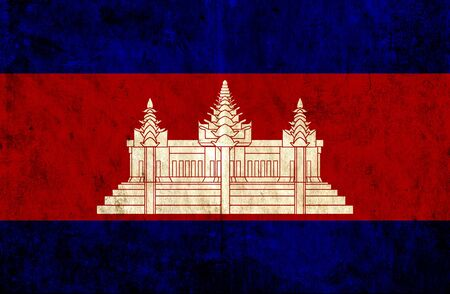 grungy: Grungy paper flag of Cambodia