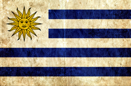 run down: Grungy paper flag of Uruguay