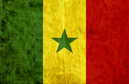 run down: Grungy paper flag of Senegal