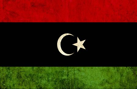 grungy: Grungy paper flag of Libya