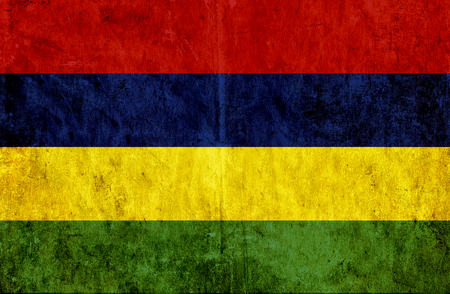 run down: Grungy paper flag of Mauritius