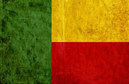 run down: Grungy paper flag of Benin Stock Photo