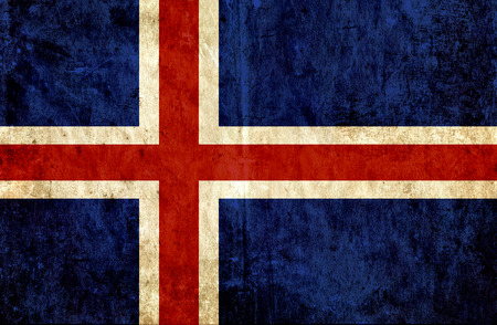 run down: Grungy paper flag of Iceland Stock Photo
