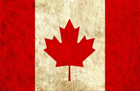 run down: Grungy paper flag of Canada Stock Photo