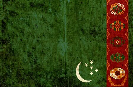 grungy: Grungy paper flag of Turkmenistan Stock Photo