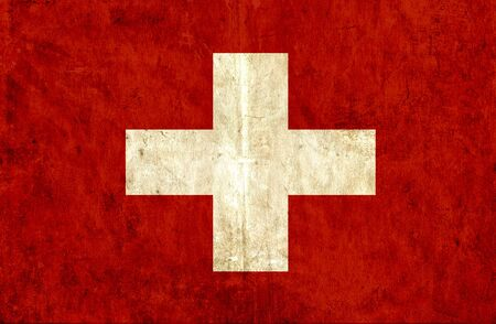 swiss flag: Grungy paper flag of Swiss Stock Photo