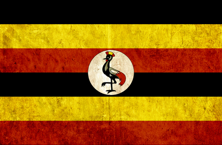 run down: Grungy paper flag of Uganda