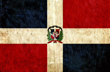 run down: Grungy paper flag of Dominican Republic Stock Photo