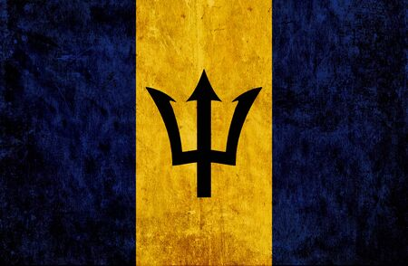 run down: Grungy paper flag of Barbados Stock Photo