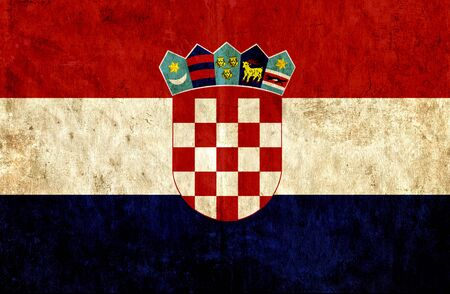 run down: Grungy paper flag of Croatia Stock Photo