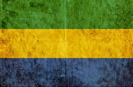 run down: Grungy paper flag of Gabon