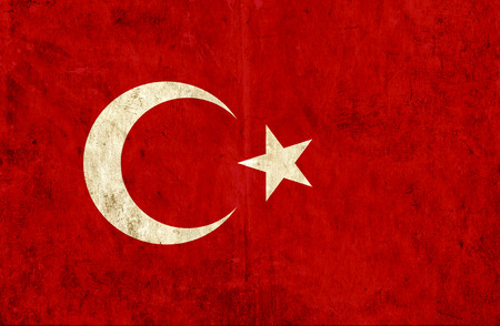 run down: Grungy paper flag of Turkey