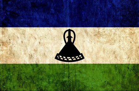 lesotho: Grungy paper flag of Lesotho Stock Photo