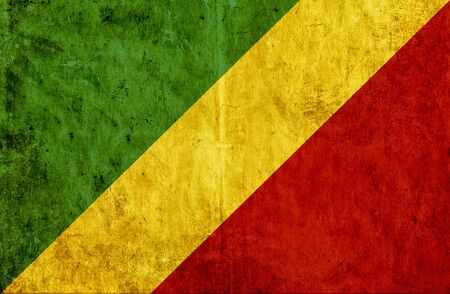 congo: Grungy paper flag of Congo