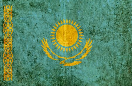 grungy: Grungy paper flag of Kazakhstan