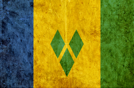 grenadines: Grungy paper flag of Saint Vincent and Grenadines
